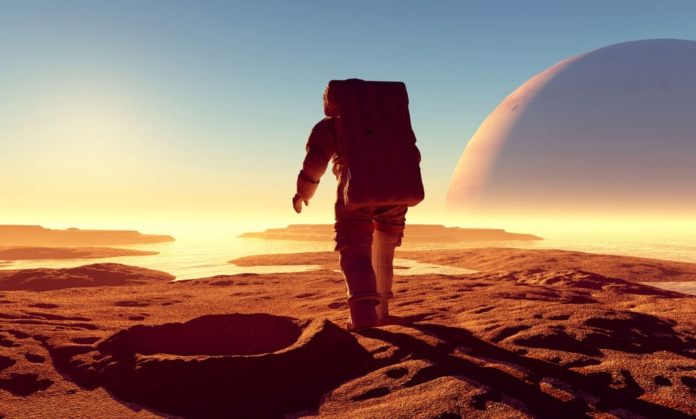 Artist's rendition of an astronaut walking on Mars.